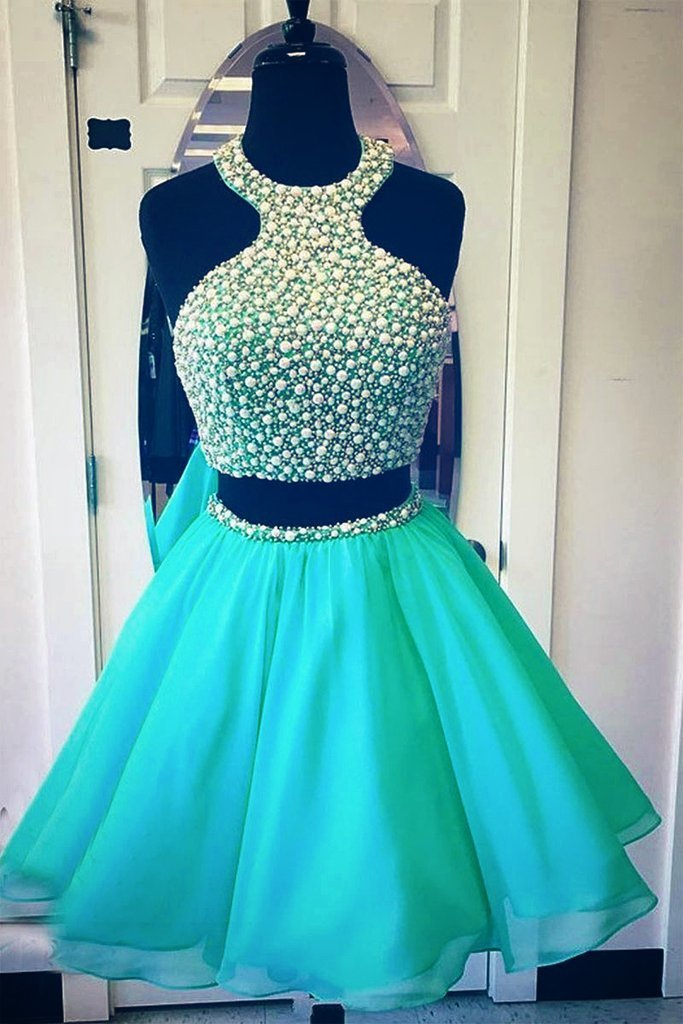 Blue Green Sexy Two Piece Prom Dresses Homecoming