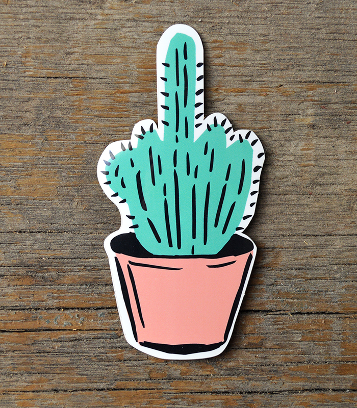 Middlefinger cactus pricklypear illustration southwest sticker jongarza original