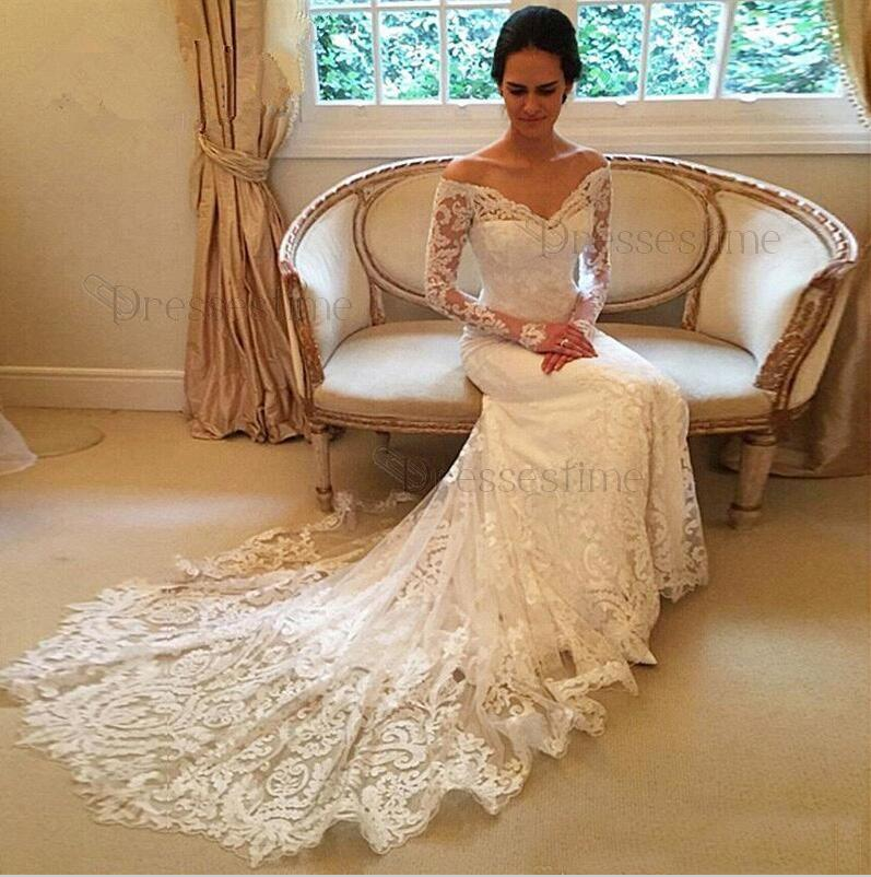 e770f935a Glamorous Mermaid Wedding Dress - Off-the-Shoulder Tulle Long Sleeves  Appliques