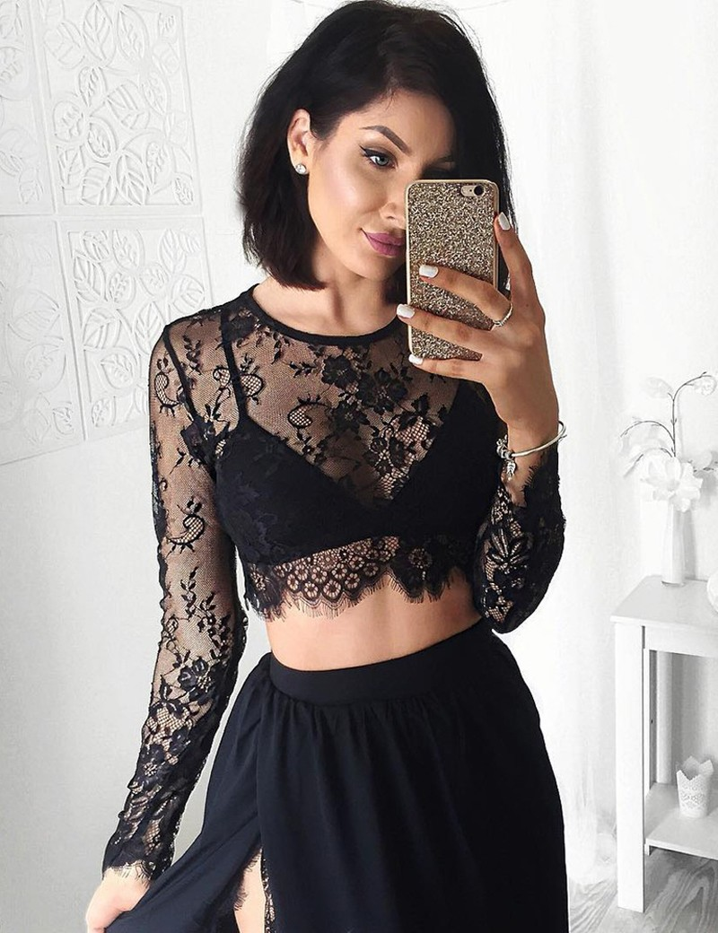 5dbc7390a4092 J206 Stunning Two Piece Jewel Long Sleeves Black Prom Dress with Lace Top