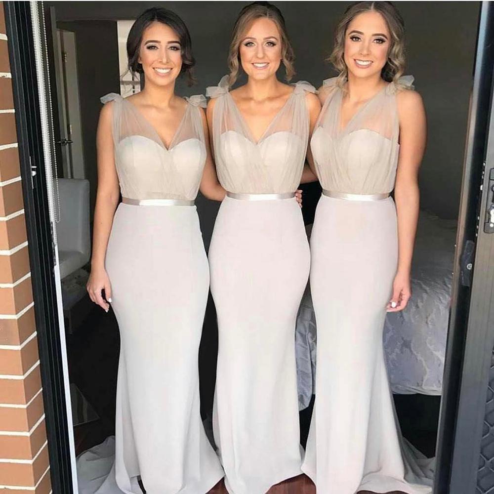 36bbc3b0e5f Oyster Silver Sheath Floor Length Bridesmaid Dress With Sheer Shoulder