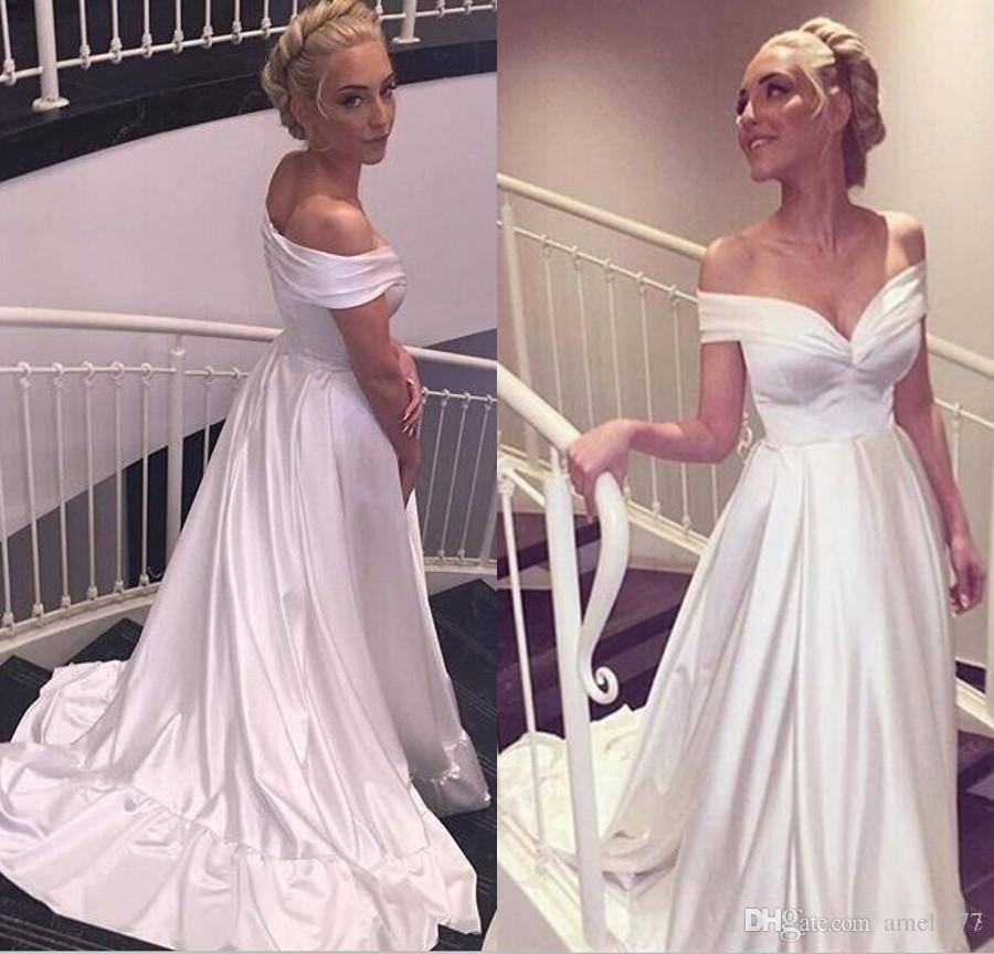 White Off Shoulder A-line Long Satin Beach Wedding Dresses