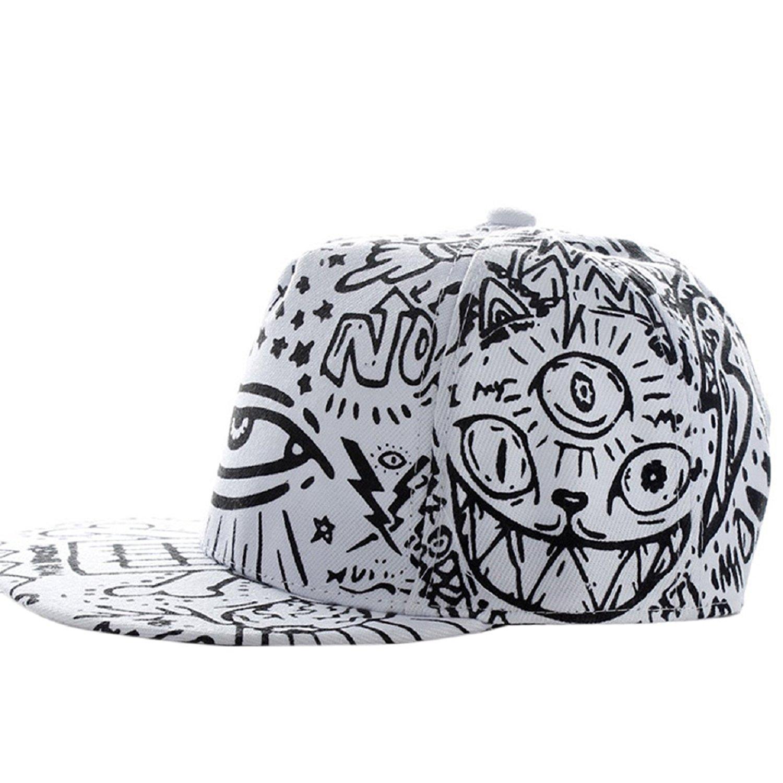 Sannysis Fashion Vintage Baseball Flat Bill Hat Hippie Eye Hiphop ... b233a639b00