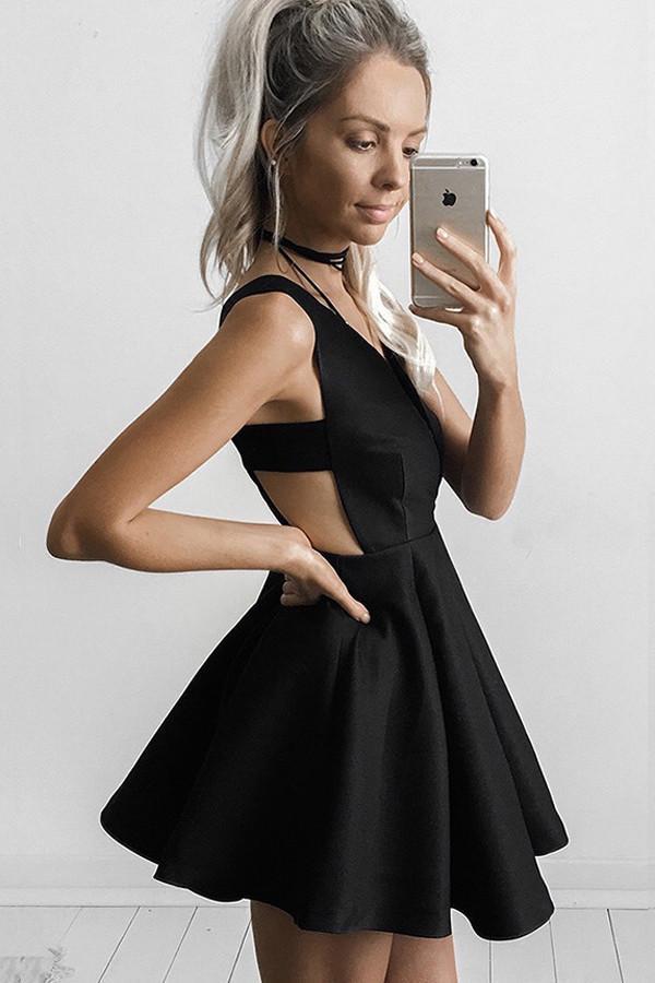 A Line Deep V Neck Little Black Dresses Little Homecoming Dresses