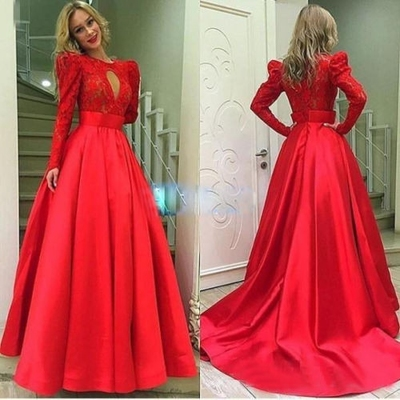 9d599ed099cc E57 full sleeve round lace zipper sweep brush train ball gown red satin  prom dress on