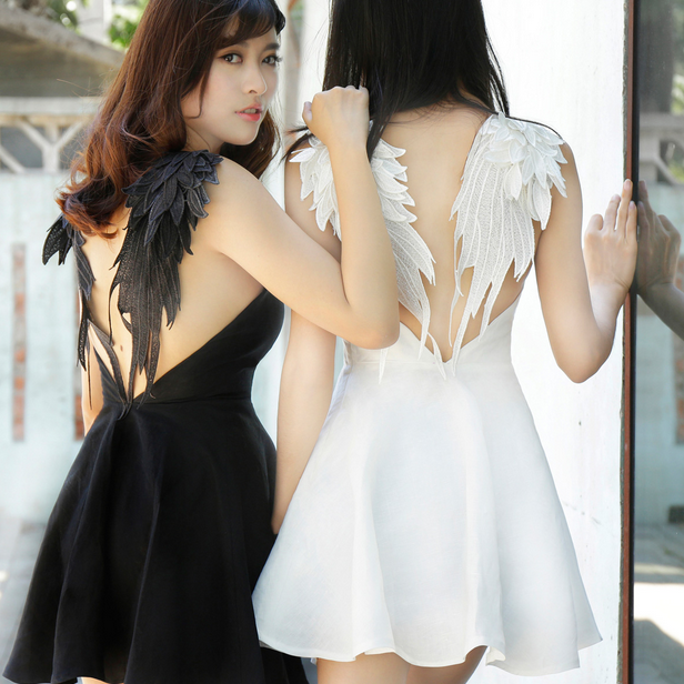 Free Shipping Backless Lace Angel Wings Dress On Storenvy
