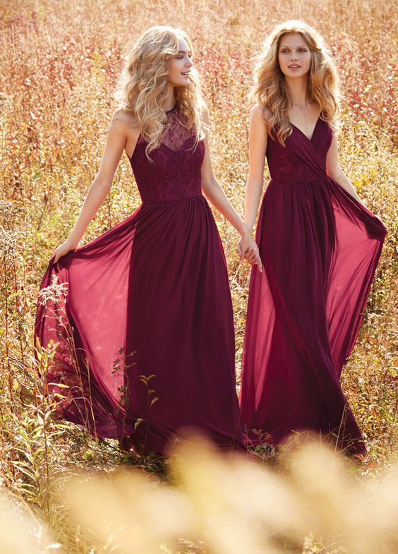 2cfe7c025c5 Dark Red V Neck Lace Long Chiffon Bridesmaid Dresses 2016 Pleats Elegance  Formal Dress Floor Length