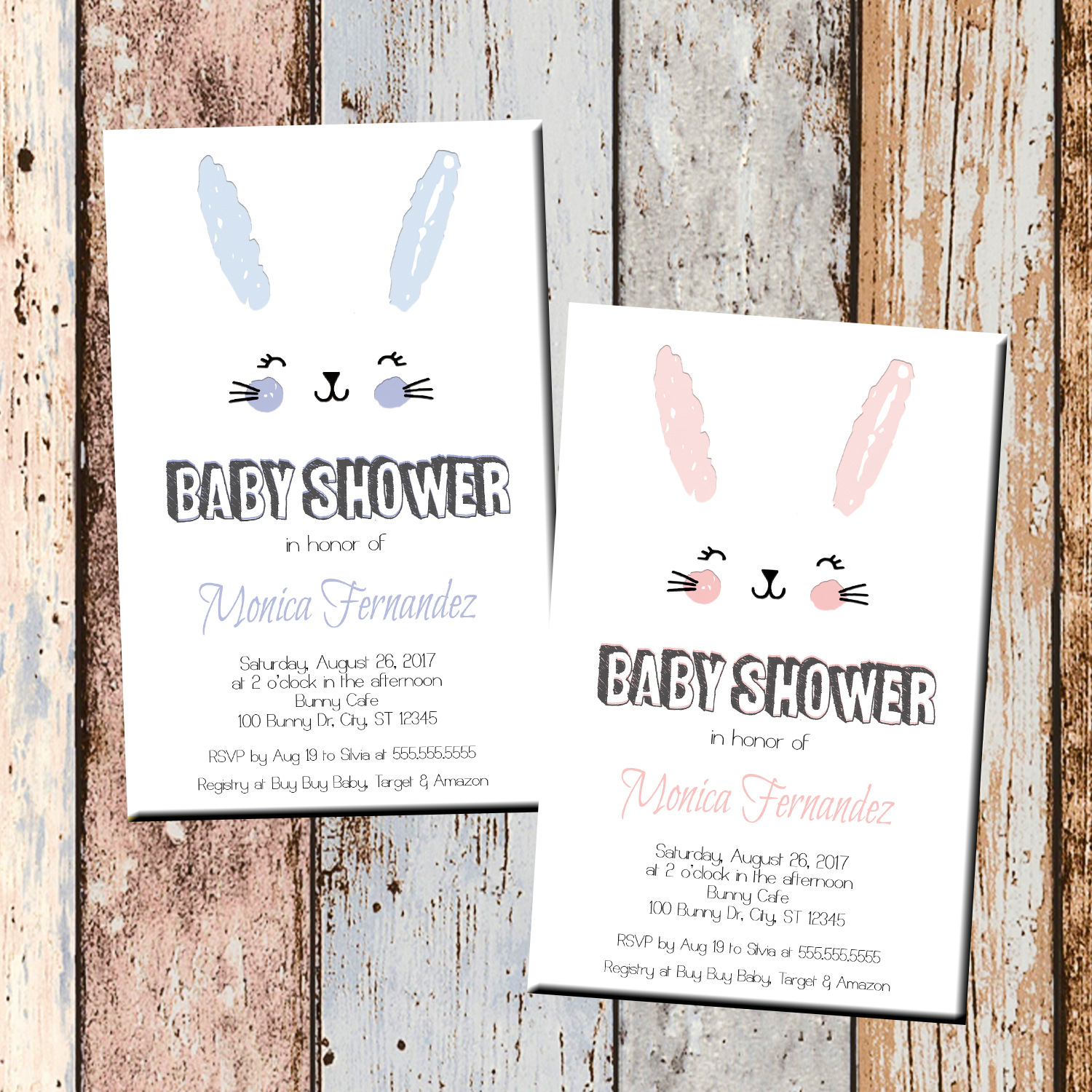 Bunny Rabbit Baby Shower Invitation 1 Sided Scg Designs