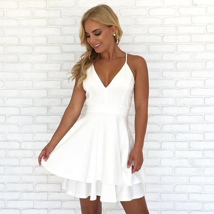 81e6498c7de Spaghetti Straps V Neck Short White Homecoming Dress · modsele ...
