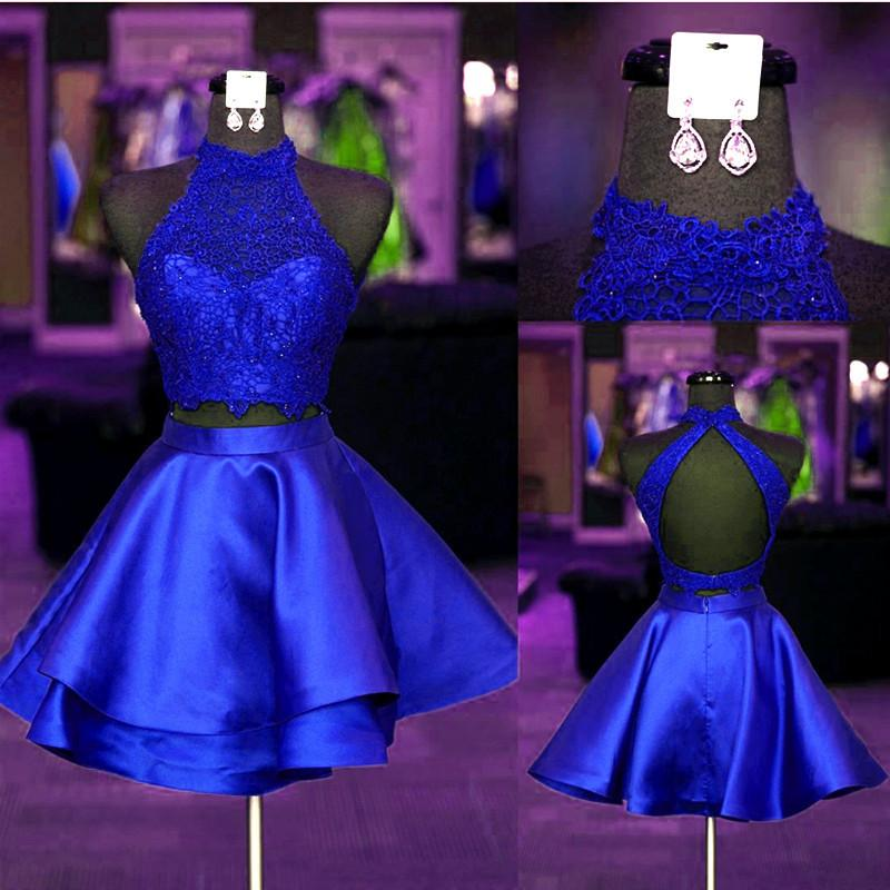 a6affee9f1f Halter Lace Crop Top Satin Homecoming Dresses Short Prom Dress Two Piece