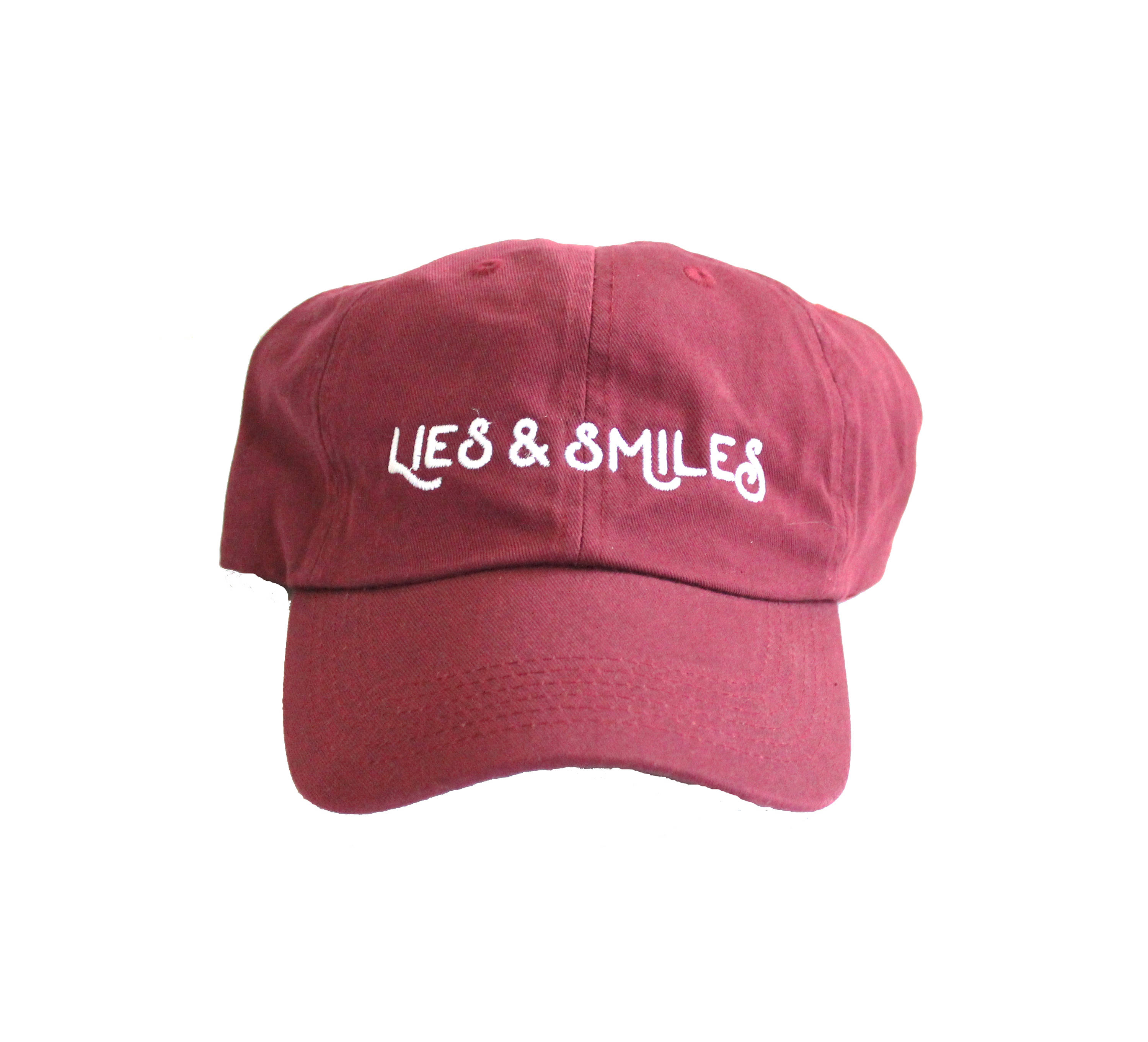 d830f902bfc Lies and Smiles Crimson and White Embroidered Dad hat    cotton ...