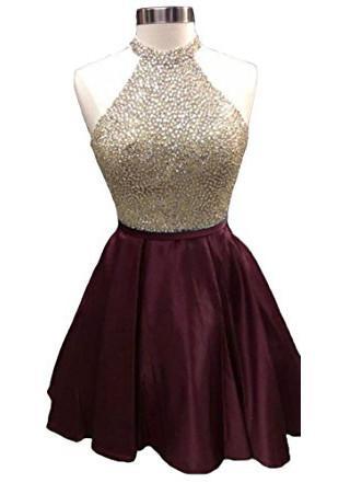 e38c5b00b73 High Neck Sleeveless Burgundy Homecoming Dresses