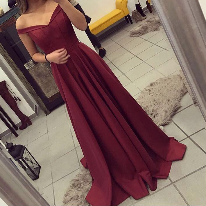 Burgundy Prom Dress, Off The Shoulder Formal Gown ,Party Dress Long ...