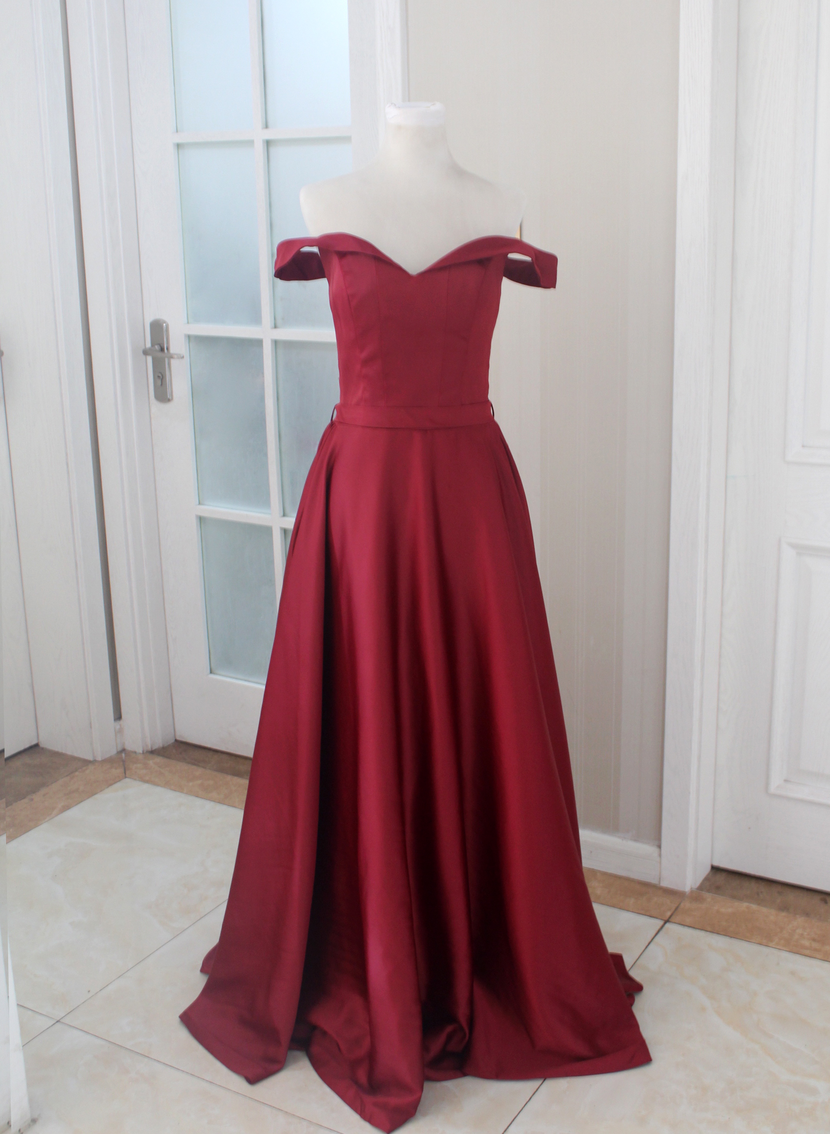 Burgundy Prom Dress Off The Shoulder Formal Gown Party