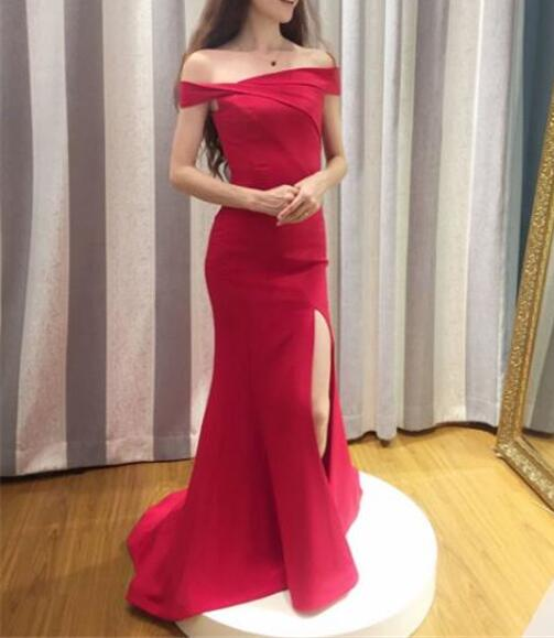 f559d6544a8 New Arrival Red Off Shoulder Prom Dress