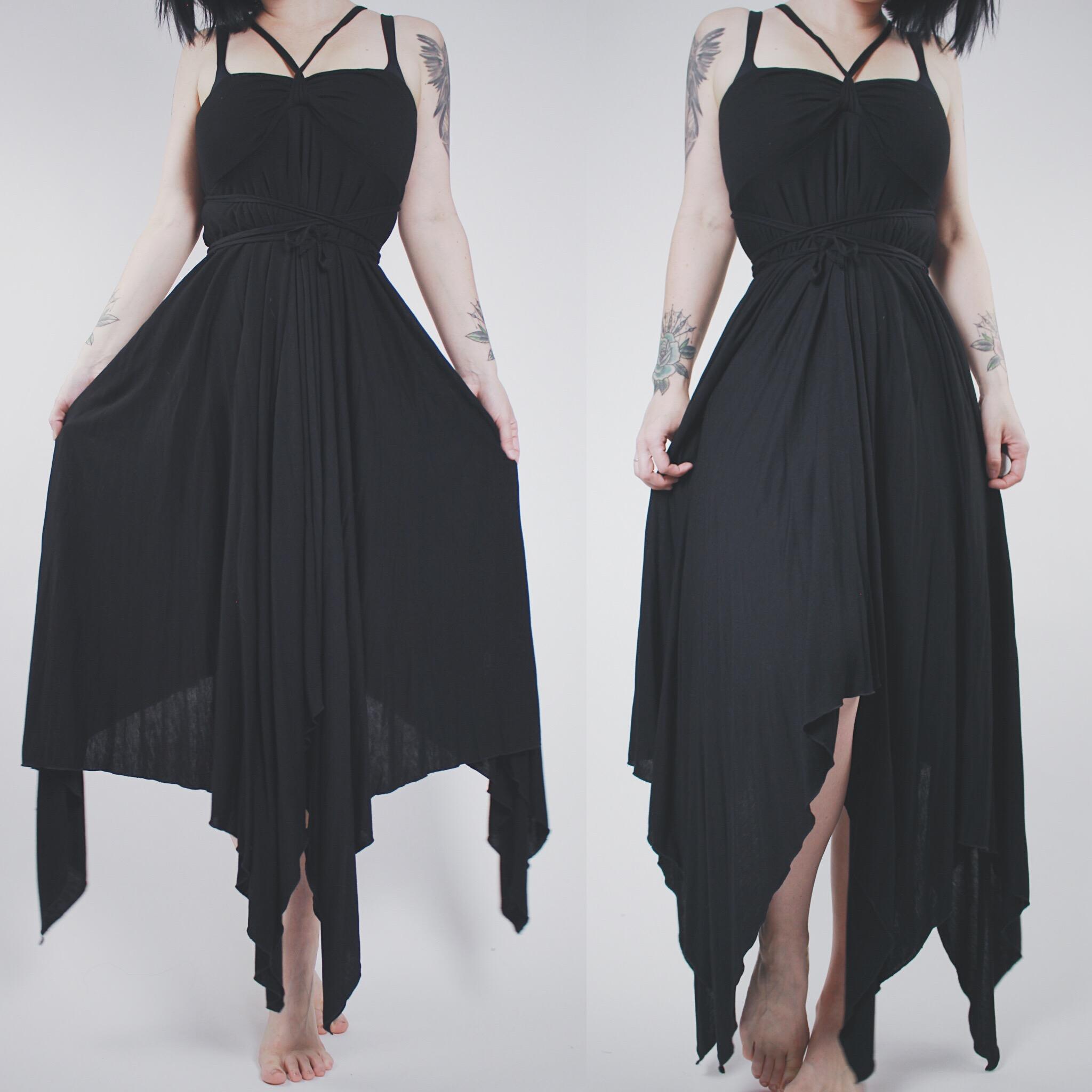 08143a7225 CLAIMED @vamps420 - Vintage 90s Black Multi-Way Strappy Asymmetrical Maxi  Dress - Thumbnail