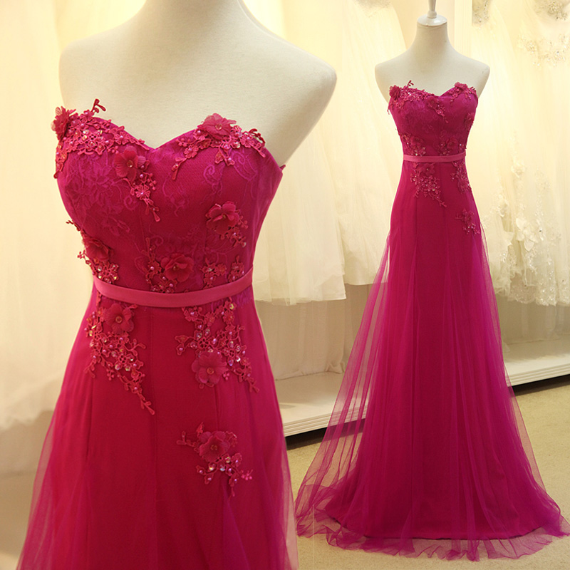 A6 Custom Made Rose Red Tulle Long Prom Dress With Lace Appliques