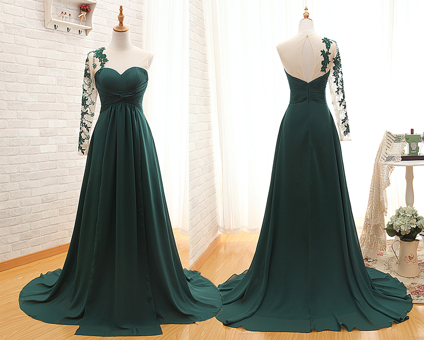 A91 Hunter Green Long Evening Gowns Prom Dresses Real Photos Prom