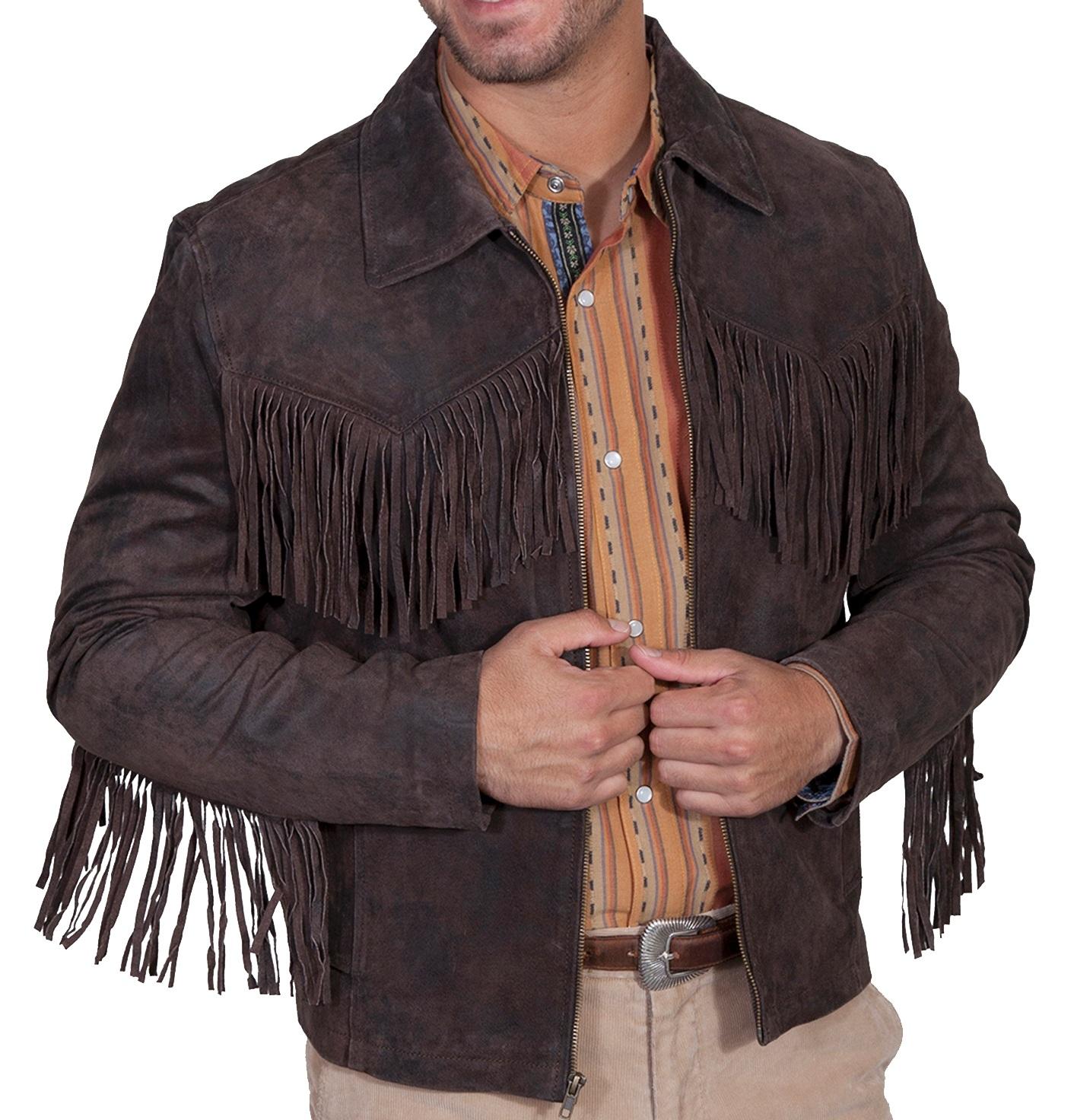 Men Simple Style Western Leather Jacket Brown Color Fringes Design