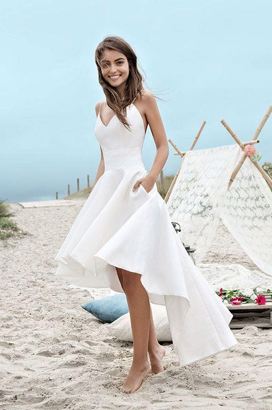 Pretty A-Line V-Neck White Satin High Low Homecoming/Wedding Dress ...