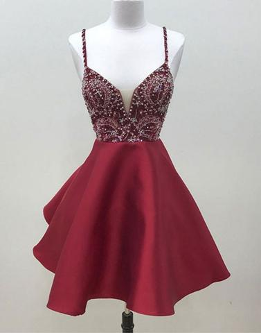 a35da30d6e Burgundy v neck sequin beads short prom dress