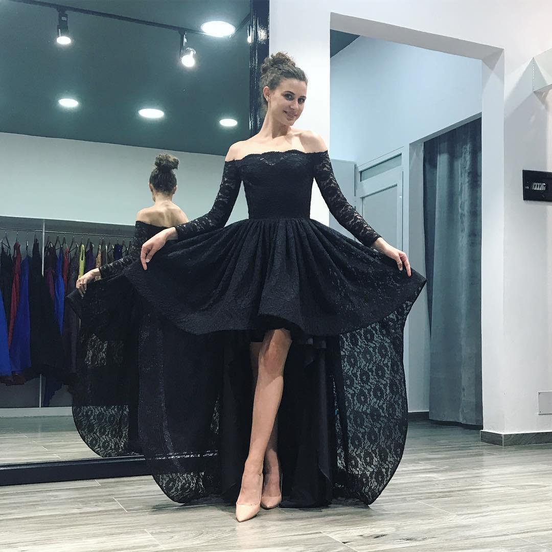2018 Black Off The Shoulder Lace Prom Dresslong Sleeve Formal Gown
