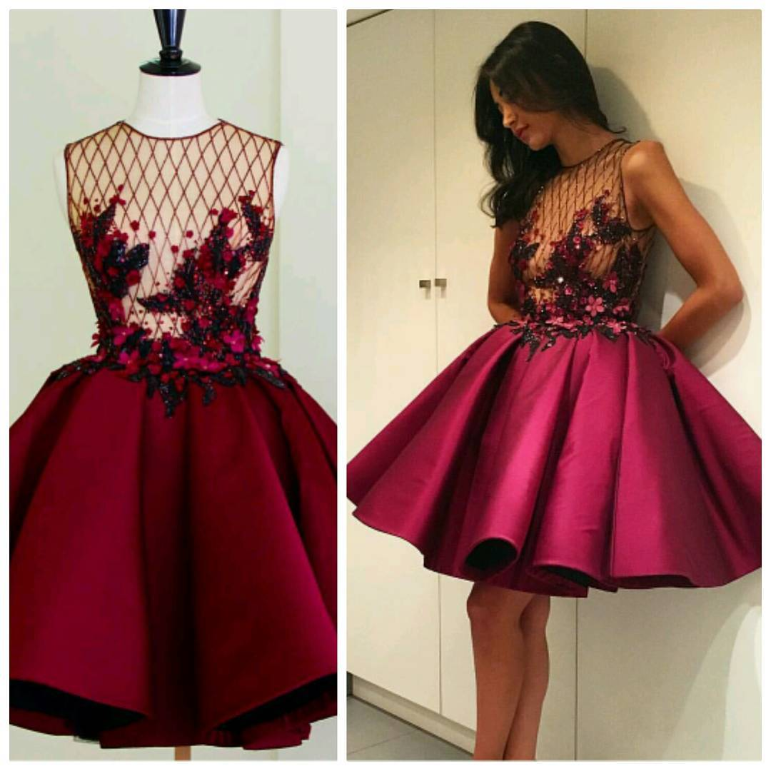 168b5ceef4 Sexy See Through Beaded Lace Appliques Short Prom Party Dresses Burgundy Homecoming  Dresses E249