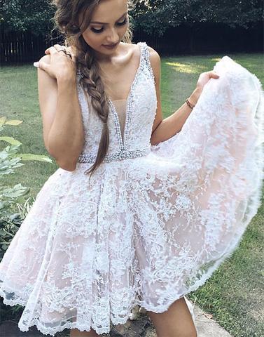 624808ec8b6 Cute deep v neck lace short prom dress