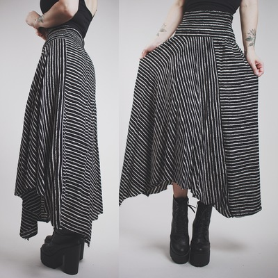8484259b53 Claimed @xgothicbatgirlx - black & white striped boho asymmetrical maxi  skirt