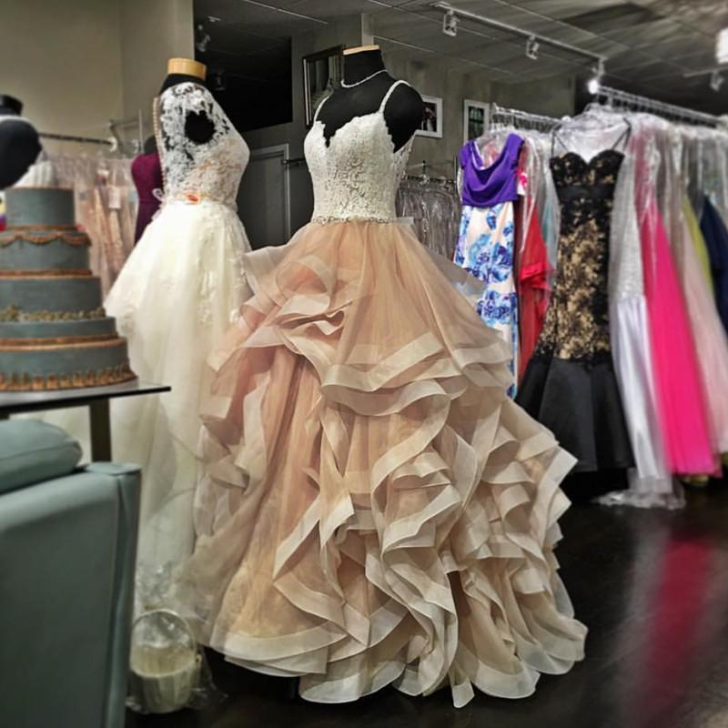 A455 V Neck Organza Ruffles Champagne Wedding Dresses Ball Gown ...