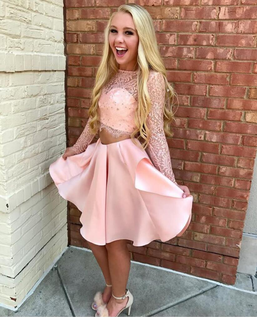 A Line Two Piece Pink Short Formal Prom Dress with Long Sleeves,Long ...