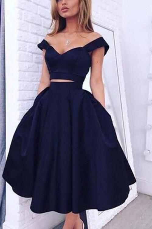 526842f1dc Princess Vintage Two Pieces Navy Blue Homecoming Dresses,Simple Cheap  Homecoming Dress
