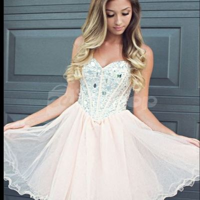 c20dd2bff71 A353 sweetheart neck beaded bodice champagne homecoming dress short prom