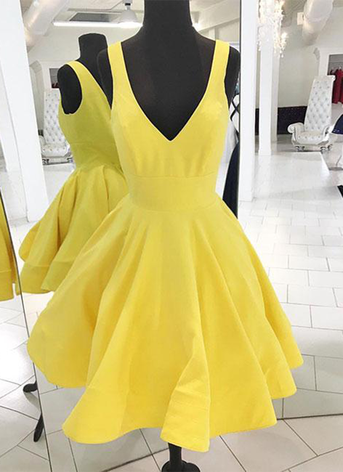 Simple yellow short V neck homecoming dress, prom dress | GirlsProm ...