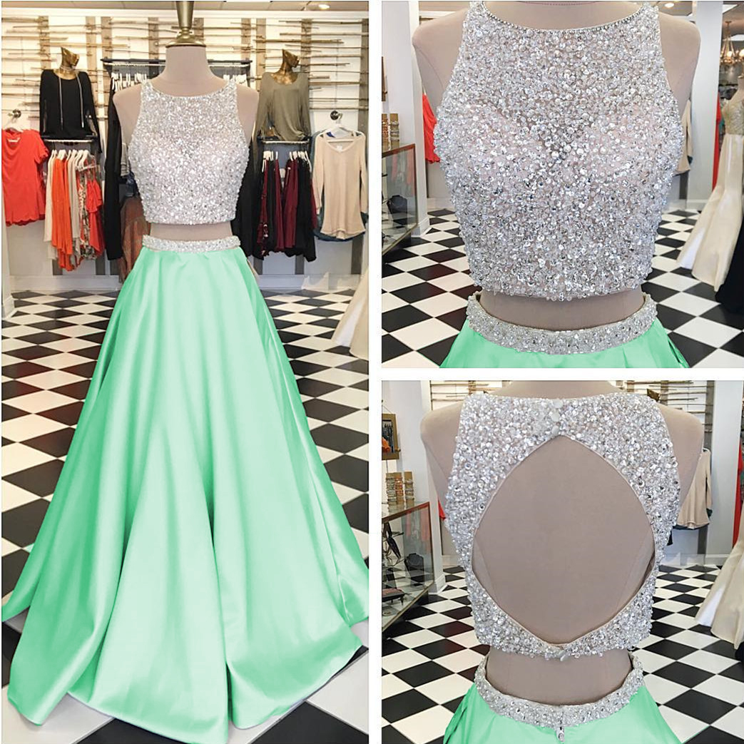 c3d2e983e65 Two Piece Prom Dresses Luxury Beaded Crystal Sequins Sleeveless A-line  Satin Prom Evening Dress