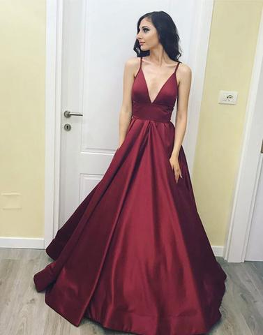 d100a8f9ce6 Simple A-Line V-Neck Burgundy Long Prom Evening Dress on Storenvy