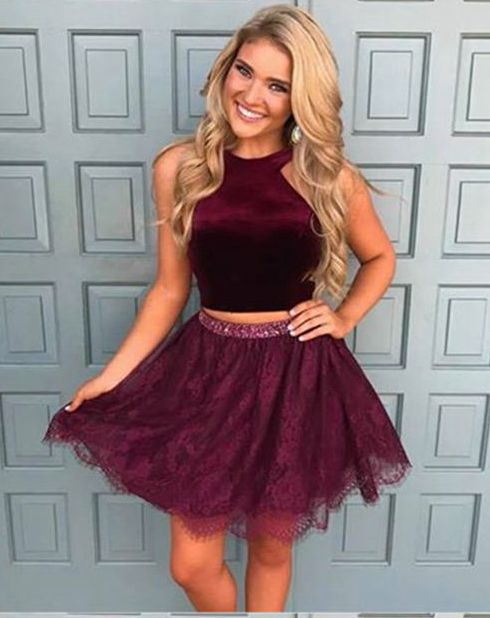 e9e1d6e6148 Burgundy two pieces lace short prom dress