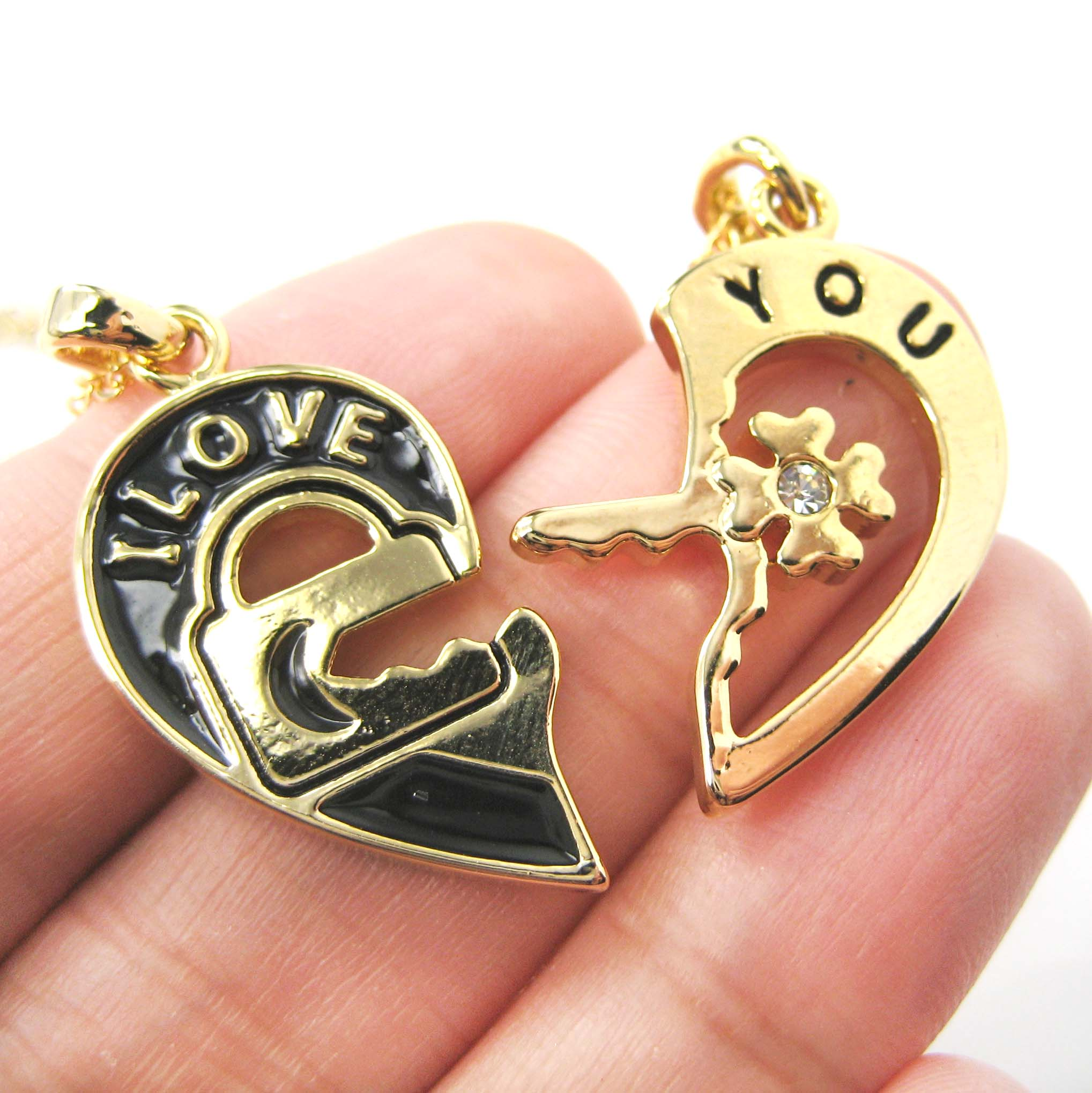 Couples 2 piece heart shaped i love you lock and key pendant 2 piece heart shaped lock and key i love you couple necklace in gold original aloadofball Choice Image