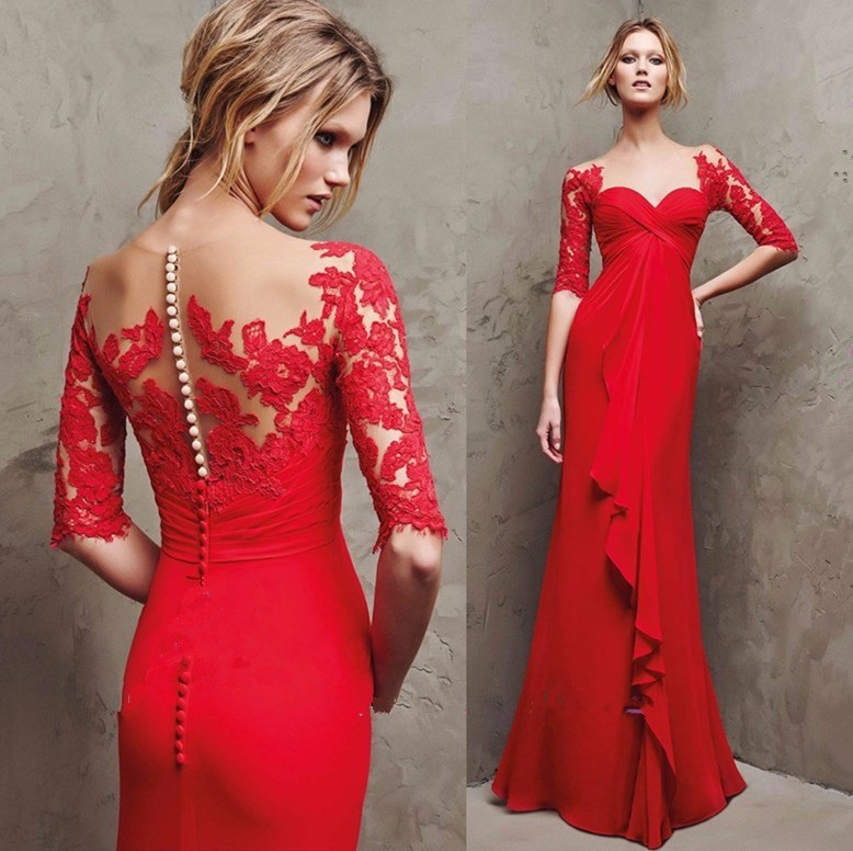 A449 New Red Chiffon Formal Evening Dress With Lace Appliques Half