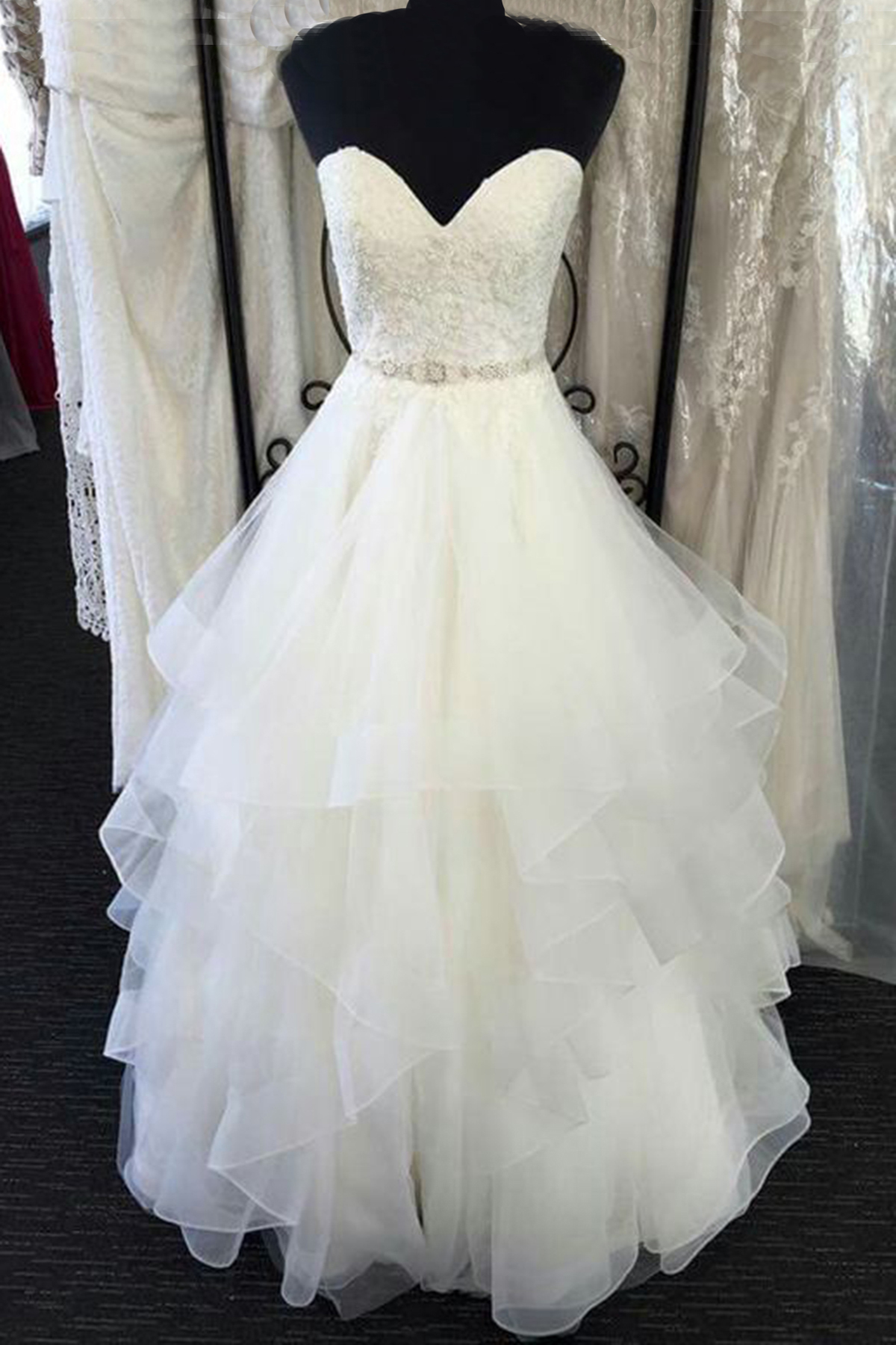 c7011c4c22a6 New design white tulle long layer lace wedding dress, formal prom dress