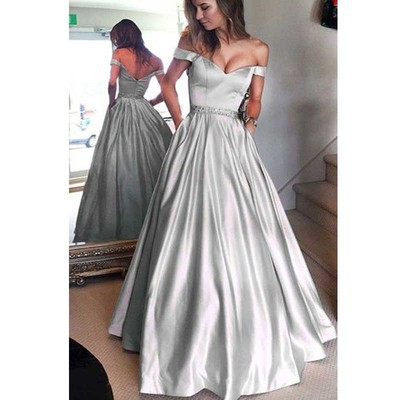 616a501297be Silver Satin Off Shoulder A-line Prom Dresses