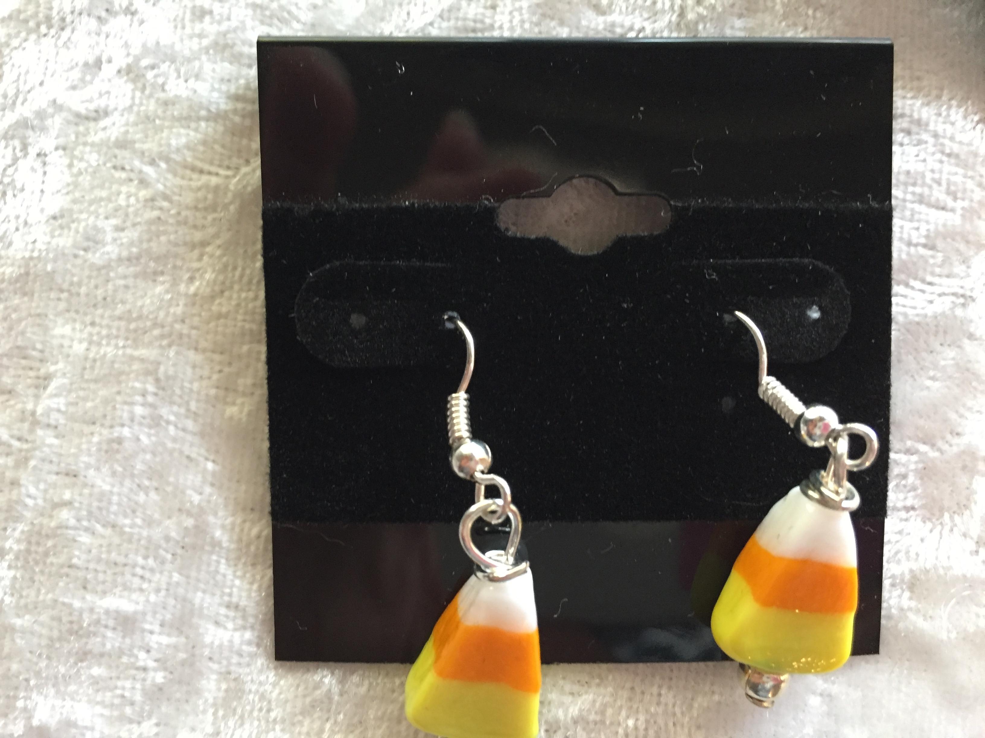 9355700a3 Glass Candy Corn Fall Halloween Dangle Earrings · Mama Otter's ...
