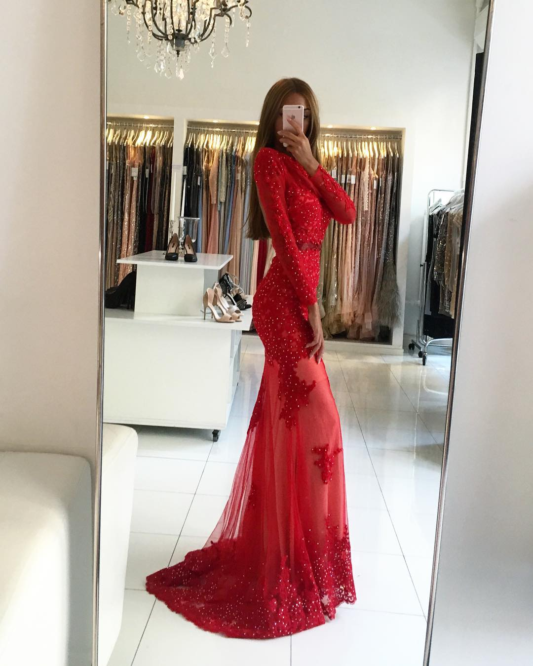0f6914e718 Charming Prom Dress,Long Sleeve Lace Mermaid Prom Dresses,Sexy Red Evening  Dress,