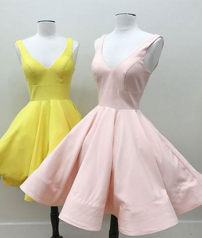 ab43be82f03 V Neck Yellow Pear Pink Short Homecoming Dress · dressydances ...