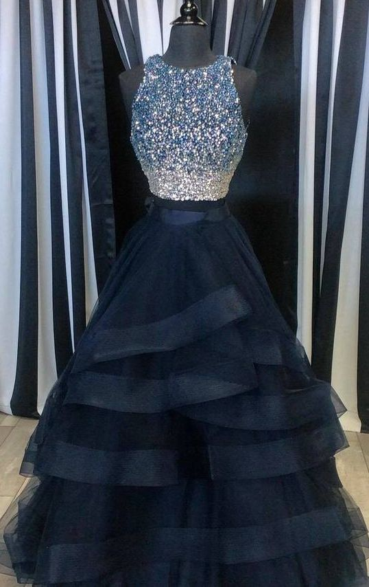 d1ff4e8c33 Popular Two Pieces Beaded Tulle Prom Dress