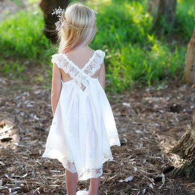 9cc57737bd Adorable A-line White Long Boho Flower Girl Dress · modsele · Online ...