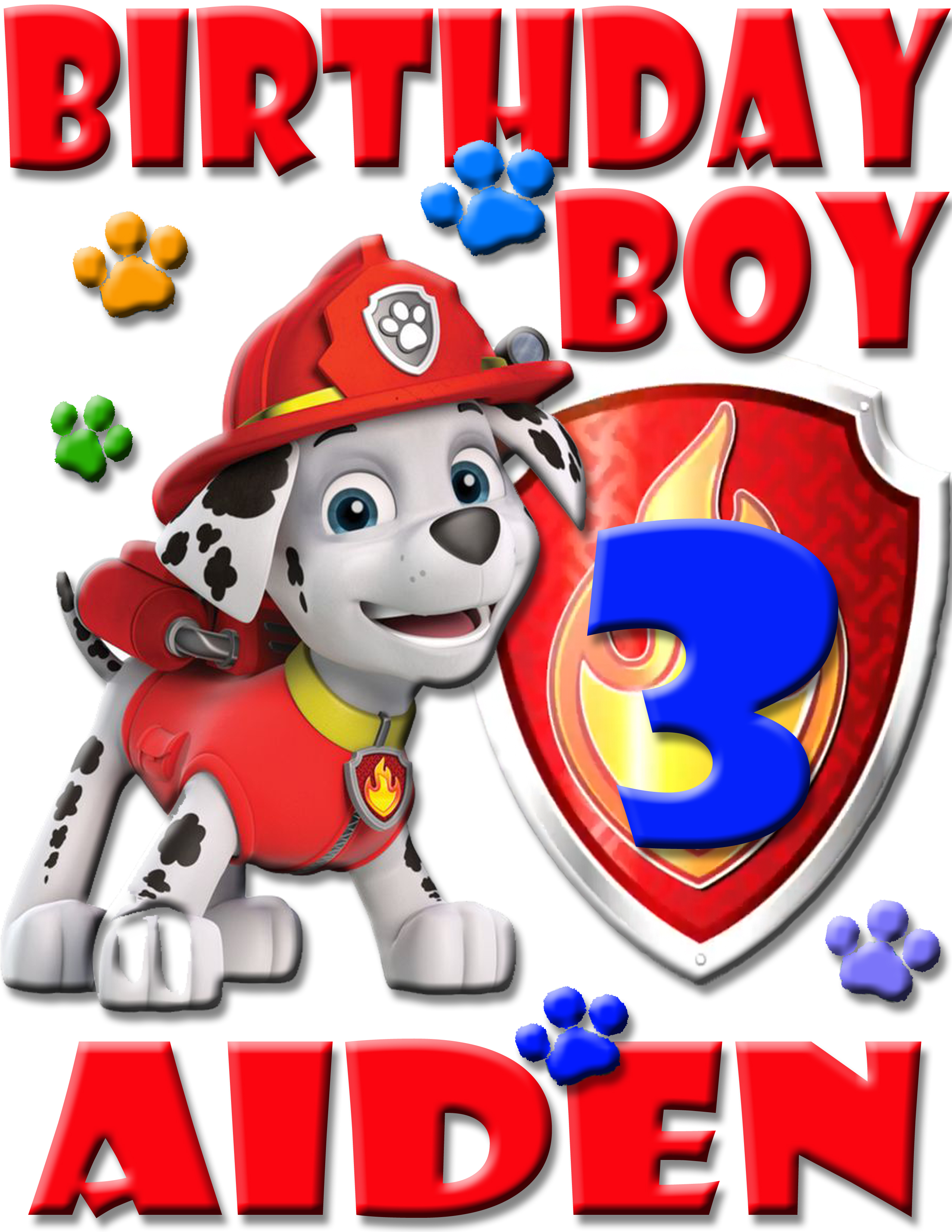 PERSONALIZED MARSHALL PAW PATROL BIRTHDAY SHIRT ADD NAME AGE FOR
