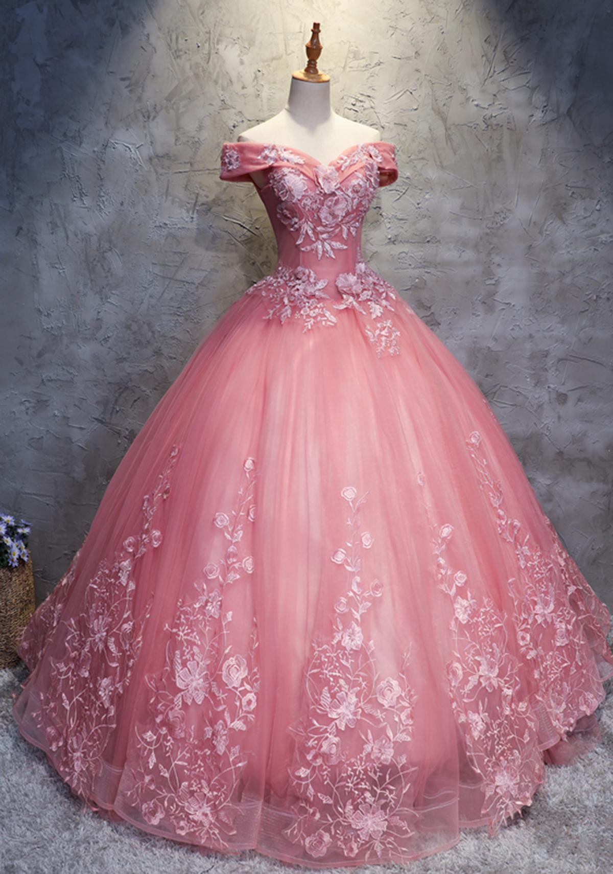 2018 off shoulder pink tulle long handmade evening dress, long ball ...