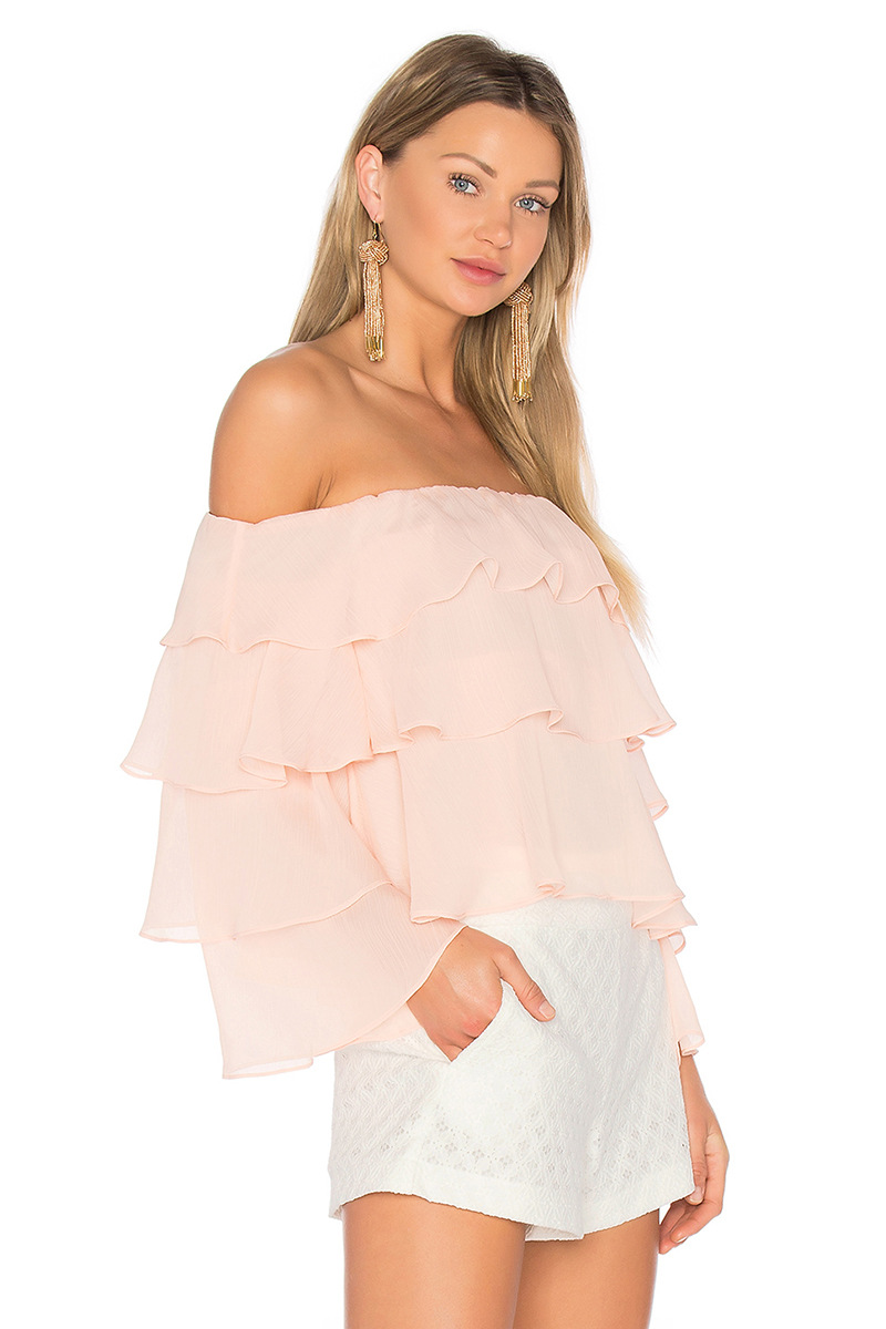 85d484991b6fd3 Ruffles 20spliced 20blouses 20solid 20color 20off 20shoulder 20long  20butterfly 20sleeve 20chiffon 20shirts 20summer 20tops 20blusas 20