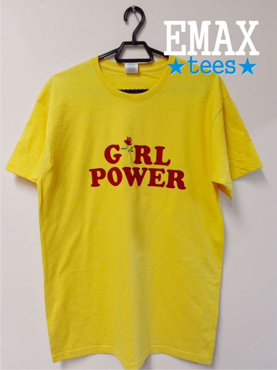 Girl Power T Shirt With Rose Print In Yellow Roses Girl T Shirt